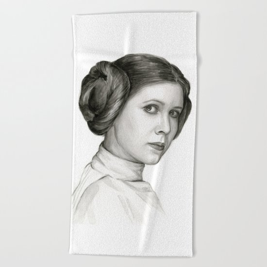 Princess Leia Watercolor Painting Carrie Fisher Portrait Beach Towel
