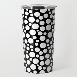 White polka dots on a black background. Travel Mug