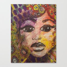 Mixed Media Female Face Canvas Print