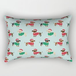 Doxie Christmas Sweaters cute dachshund pattern print dog gifts Rectangular Pillow