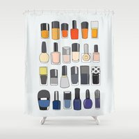 nail polish Shower Curtains featuring my nail polish collection by uzualsunday