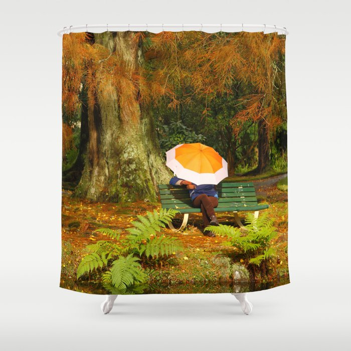 Woman sitting with umbrella Shower Curtain