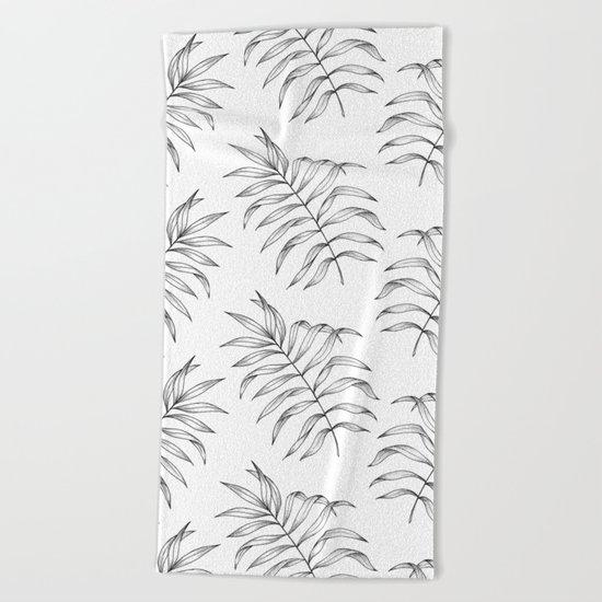 Palm Leaves Pattern Beach Towel