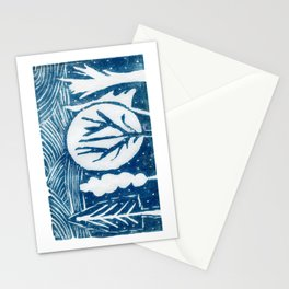 linocut trees print Stationery Cards