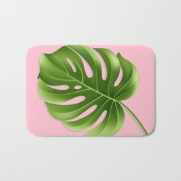 Monstera Leaf Greenery Tropical Pink Aloha Modern Décor Bath Mat