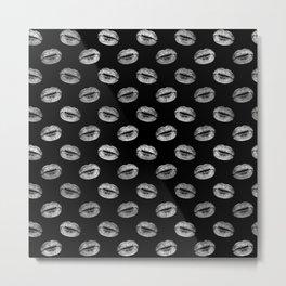 Black and Silver Kiss lips Metal Print