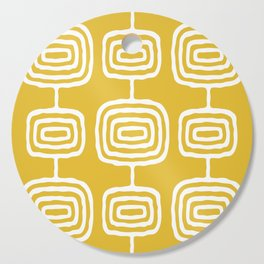 Mid Century Modern Atomic Rings Pattern 771 Mustard Yellow Cutting Board