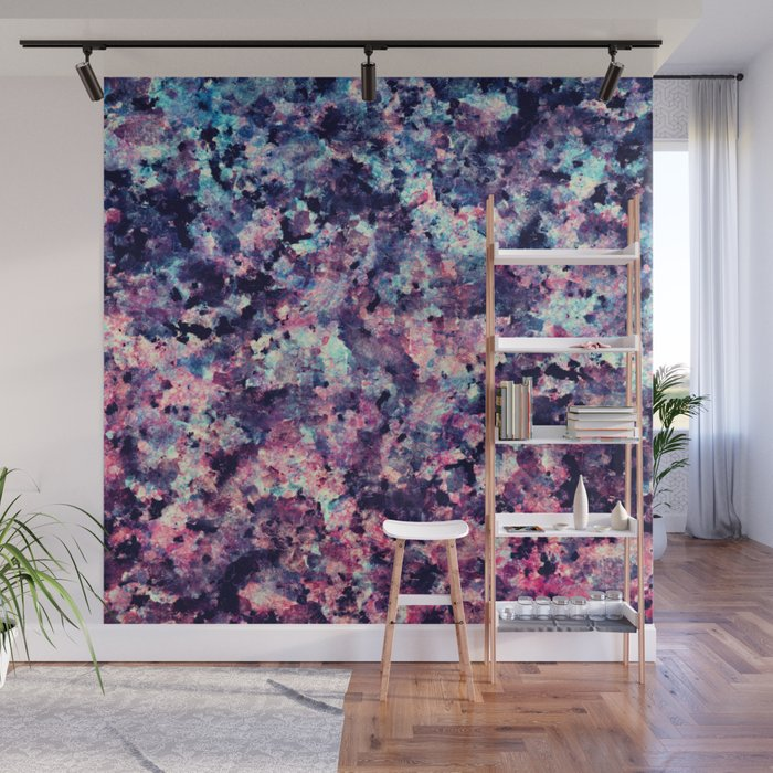 Teal, Pink, and Black Granite Marble Pattern Wall Mural