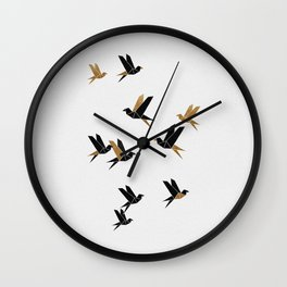 Origami Birds Collage I, Gold and Black Wall Clock