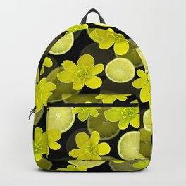 Lime and flowers on black Backpack