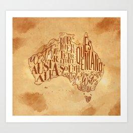 Map Australia vintage craft Art Print