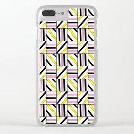 symetric tartan and gingham 2 -vichy, gingham,strip,square,geometric, sober,tartan Clear iPhone Case