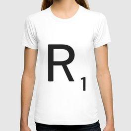 Letter R - Custom Scrabble Letter Tile Art - Scrabble R Initial T-shirt