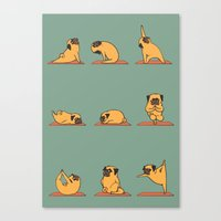 huebucket Canvas Prints featuring Pug Yoga by Huebucket