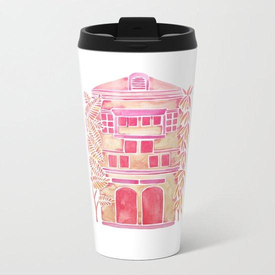 Tropical House – Pink Ombré Metal Travel Mug