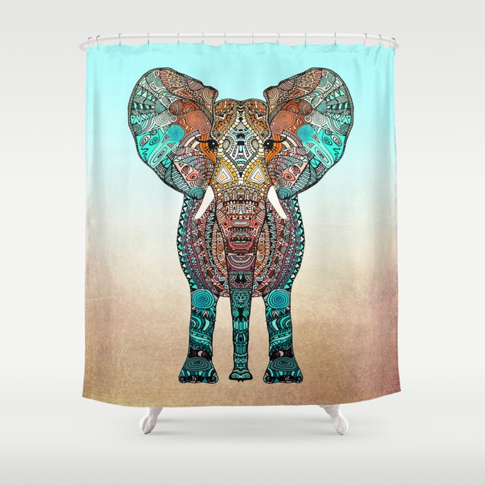 BOHO SUMMER ELEPHANT Shower Curtain By Monikastrigel