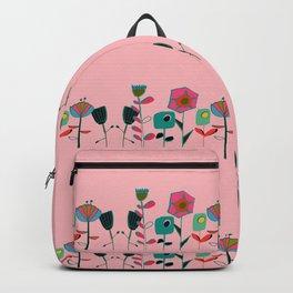 Mid century flowers pink Backpack