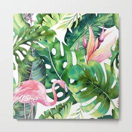 Flamingo Tropical, Colorful Tropical Jungle Monstera Painting, Watercolor Birds Banana Leaves Metal Print