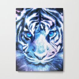 White Tiger | Snow Tiger | Tiger Face | Space Tiger Metal Print