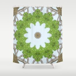 Bark Leaves Stone Kaleidoscope Art 5 Shower Curtain