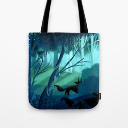 Shadow Wolves Stalk The Silver Wood Tote Bag