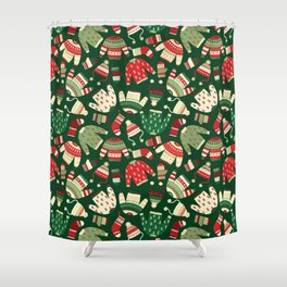 Ugly Christmas Fashion red green white Shower Curtain