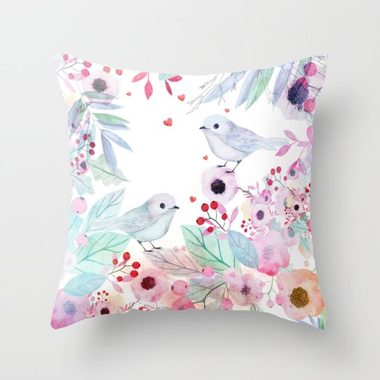 Lovebirds Throw Pillow by Danse De Lune Society6