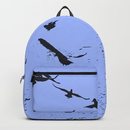 Silhouette Of A Flock Of Seagulls Over Water Vector Backpack