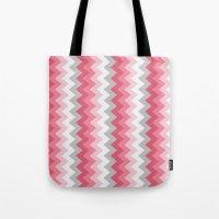 Chevron Pink & Grey Tote Bag