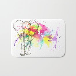 Splash of color - elephant Bath Mat