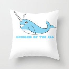 Unicorn Of The Sea Cute Narwhal Pun Throw Pillow