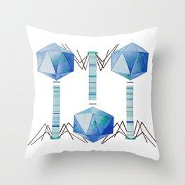 Bacteriophage 2, Science art, science, virus, microbiology, virology, geekery, science illustration Throw Pillow