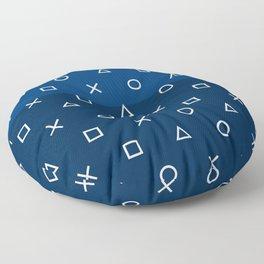 Gamepad Symbols Pattern - Navy Blue Floor Pillow
