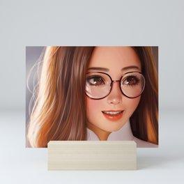Super Cute Beautiful Brunette Goggles Anime Manga Secretary Ultra HD Mini Art Print