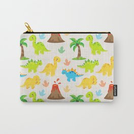 Cute Dinosaurs Nursery Illustration with Brontosaurus Stegosaurus and Triceratops Carry-All Pouch
