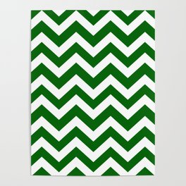Emerald green - green color - Zigzag Chevron Pattern Poster