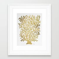 coral Framed Art Prints featuring Gold Coral by Cat Coquillette
