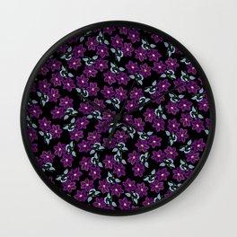 'Violet Compliment' Purple & Blue flowers design Wall Clock