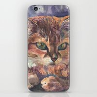 meow iPhone & iPod Skins featuring Meow by Emma Reznikova