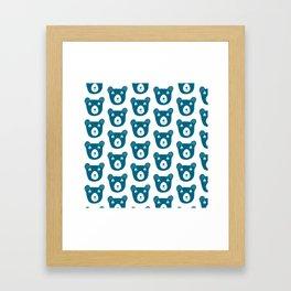 Cute dark blue bear illustration Framed Art Print
