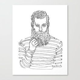 Beard Man with a Pipe Canvas Print