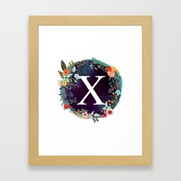 Personalized Monogram Initial Letter X Floral Wreath Artwork Framed Art Print