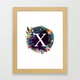 Personalized Monogram Initial Letter X Floral Wreath Artwork Framed Art Print