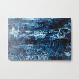Abstract blue and white acrylic painting made with a palette knife. Modern art concept. Metal Print
