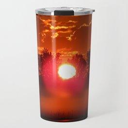 Red Foggy Sunrise Travel Mug