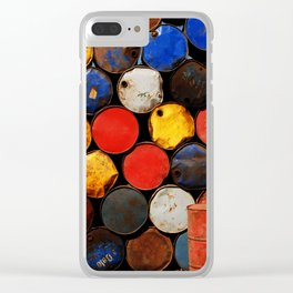 Gasoline Rusty Tin Cans Pattern Clear iPhone Case