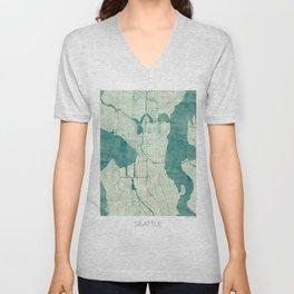 Seattle Map Blue Vintage Unisex V-Neck