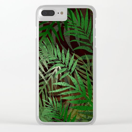 TROPICAL GREEN LEAVES BROWN B. Clear iPhone Case