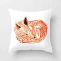 rubyetc Throw Pillows featuring fox by rubyetc