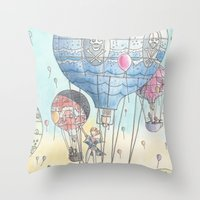 hot air balloon Throw Pillows featuring Hot air balloon party by Dreamy Me